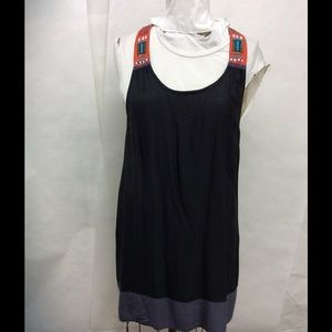 Hurley Tribal Embroidered Black Shift Tank Dress