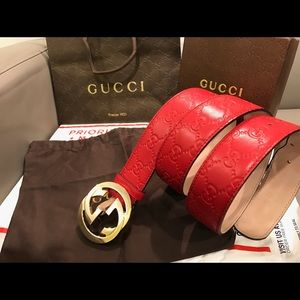 Gucci Other - 🔥 Authentic Men Gucci Belt Red Guccisima Gold 34