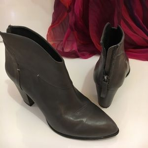B Makowsky Grey Leather Booties - Size 7M