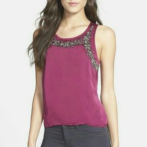 Chelsea28 Embellished Overlay Sleeveless Tank Top