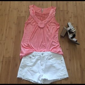 Olivia Moon Tops - Coral Flowy Tank Top