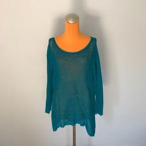 Eileen Fisher Teal Knit Asymmetrical Sweater