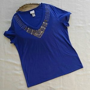 Jaclyn Smith Tops - Jaclyn Smith Royal Blue Embellished Top