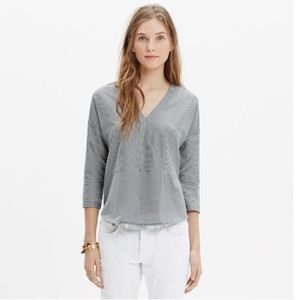 EUC Madewell Luster Cotton V-neck Tee in Stripe S