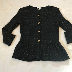 Monteau Sweaters - Monteau Gray/Gold Shimmer Button Peplum Cardigan