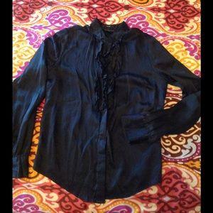 Behnaz Sarafpour Tops - 💯 silk elegant black blouse with ruffles 🦋
