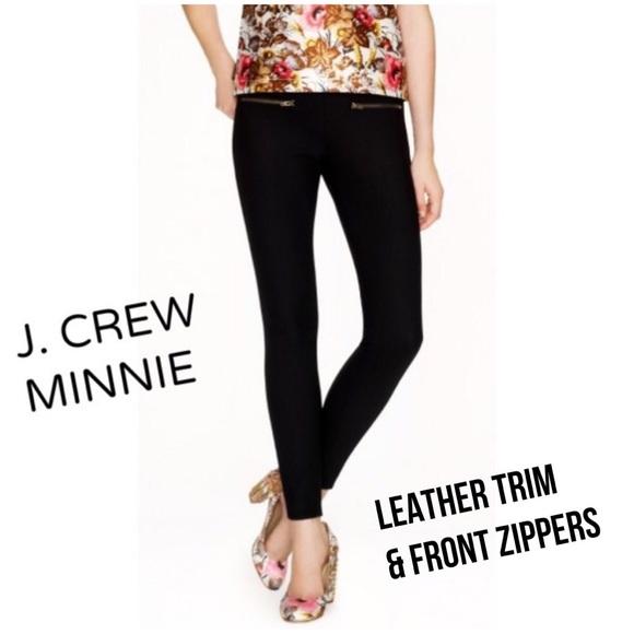 J. Crew Pants - J. Crew Minnie Zippered Black Pants Leather Trim