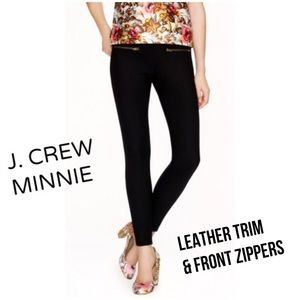 J. Crew Minnie Zippered Black Pants Leather Trim