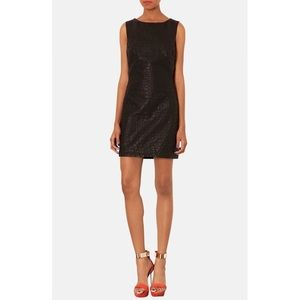 EUC Topshop Quilted Faux Leather Shift Dress 6