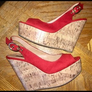 Soda Shoes - Size 8💋Red Hot💋Wedge Sandals