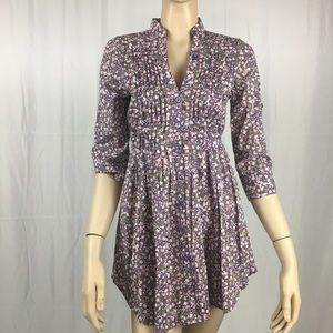 Fire Los Angeles Tops - Cute Purple Floral Button Down Tunic Blouse