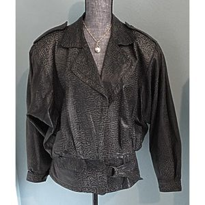 Vintage Leather Biker Moto Jacket 80s Animal Print