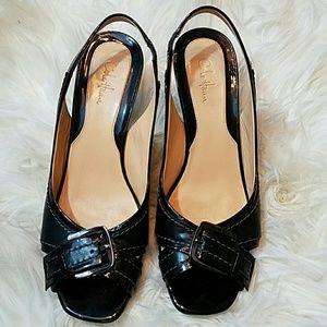 Cole Haan Shoes - COLE HAAN Black Sling Back Peep Toe Buckle Heels
