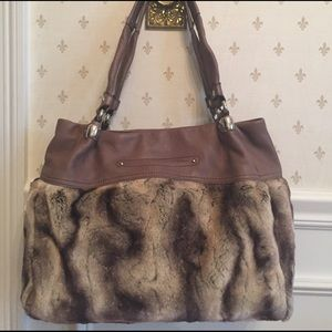 B Makowsky Handbags - B Makowsky brown faux fur handbag