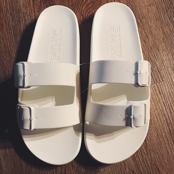 86594c2686d10 NWT VS Pink White Buckle Slides NWT