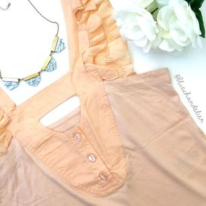 See by Chloe Tops - see by chloe | romantic peach ruffle trim tank