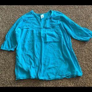Just My Size Tops - JMS Just My Size Career Aqua Blue Shirt 3X