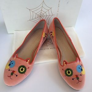 Charlotte Olympia Shoes - HP💖Charlotte Olympia Abstract Kitty Velvet Flats