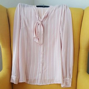 Blush blouse with front tie