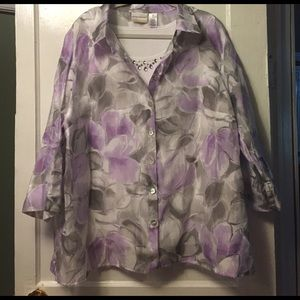 Alfred Dunner Tops - Sheer floral blouse with gemmed built in tank!