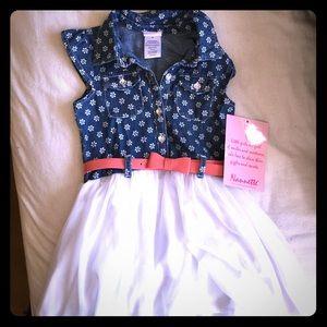 Nanette Baby Other - Jean Top Ballerina Skirt Girl's 5 Dress- Bow Belt