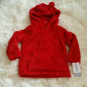 Carter's Other - 12M Baby Red plush hoodie NWT