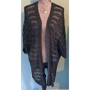 Charcoal Grey Cardigan Loose Weave Open Front plus