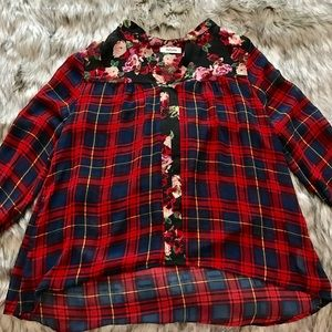 Tops - Plaid and Floral Top