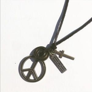 Evolve Always Other - 🆕Leather Adjustable Necklace Peace Sign Pendant