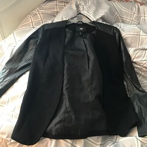H&M faux leather sleeves blazer