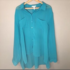 Ambiance Apparel Tops - *50% OFF BUNDLES* Teal blue button down Blouse