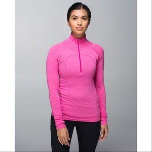 lululemon athletica Tops - Lululemon Run Swiftly Half Zip Hot Pink Magenta 10
