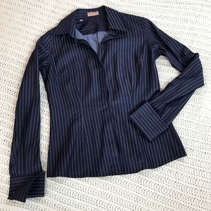 Thomas Pink Tops - Thomas Pink Navy Blue French Cuff Button Down Top