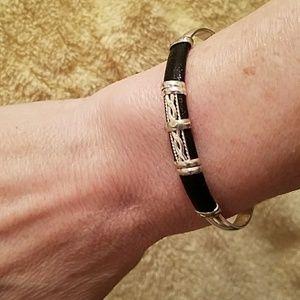 Custom Jewelry - Silver Black Leather Custom Bangle Bracelet