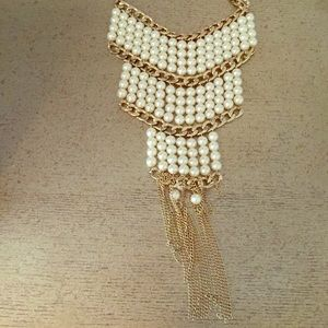 ASOS Jewelry - Pearl long statement necklace w gold tassels🌟