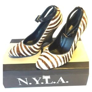 N.Y.L.A. Shoes - N.Y.L.A ANKLE STRAP ZEBRA PONY HAIR WEDGE HEELS