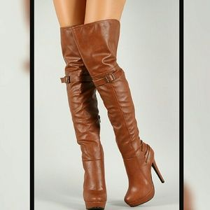 Shoes - TAN THIGH BOOTS