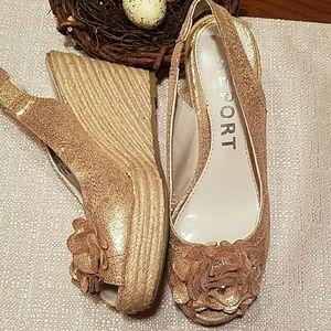 Report Shoes - 🍑SALE🍑 Golden Peep Toe Espadrilles
