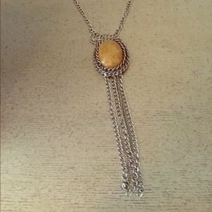 ASOS Jewelry - Long Citrine Stone Necklace w Silver Chains 🌟