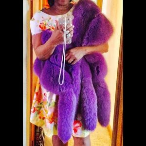 Other - Fox fur shoulder wrap purple