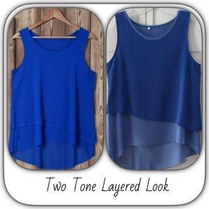 Boutique Tops - NWT Soft Chiffon Royal Blue Layered Tank Top