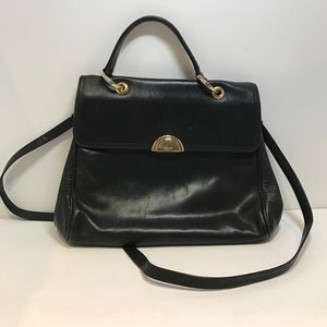 Bally Handbags - BALLY Rare Vintage Black Leather 2Way