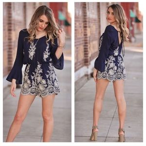 Infinity Raine Other - JUST IN! Navy Embroidered Romper