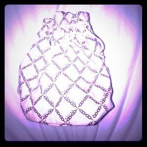 Celine Handbags - Celine cream canvas & brown logo chain pouch