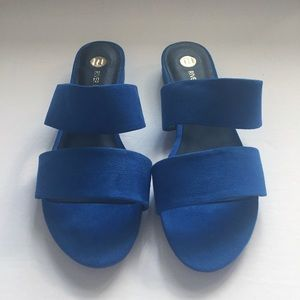 River Island Shoes - River Island Blue Two Strap Mules - NWT