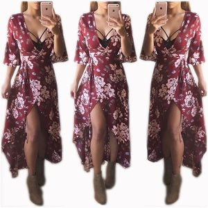 Coming soon Burgundy floral maxi dress
