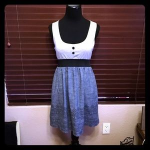Planet Gold Dresses & Skirts - Chambray and Gray Dress w/ Henna Print worn once