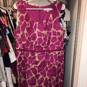 Loft Pink Animal Print Dress