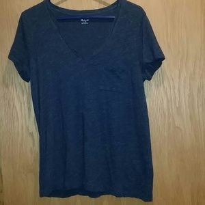 Madewell V-Neck Shirt Heather Navy
