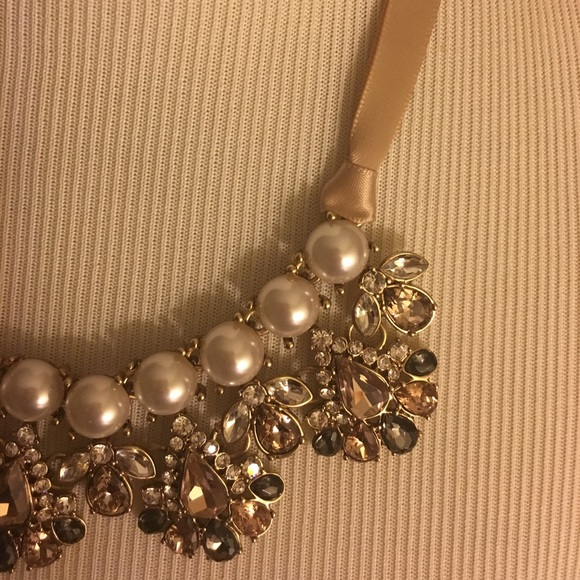 68 off jewelry trendy pearl and jewels satin tie ribbon for Ribbon tie necklace jewelry